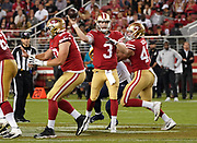 San Francisco 49ers quarterback C.J. Beathard (3) throws the ball during an NFL football game, Thursday, Aug. 29, 2019, in Santa Clara, Calif. (Dylan Stewart/Image of Sport)
