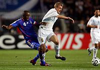 Photo: Richard Lane/Sportsbeat Images.<br />France v Scotland. UEFA European Championships Qualifying. 12/09/2007. <br />Patrick Vieira of France challenges Darren Fletcher of Scotland.