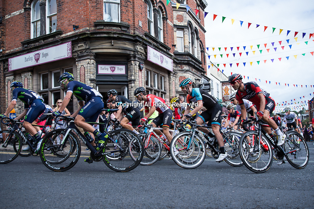 06.09.2016. Congleton Cheshire, England.  Tour of Britain, Stage 3, Congleton to Knutsford.  Movistar Team rider Gorka Izaguirre, Madison Genesis rider Erick Rowsell and Movistar Team rider Alex Dowsett.