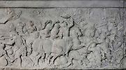 Battle of Cerisoles in 1544, relief on the base of the funerary monument of Francois I, 1494-1547, and Claude of France, 1499-1524, commissioned by Henri II and made by Pierre Bontemps in 1550, in the Basilique Saint-Denis, Paris, France. This monument originally came from the Abbaye des Hautes-Bruyires in Yvelines. The basilica is a large medieval 12th century Gothic abbey church and burial site of French kings from 10th - 18th centuries. Picture by Manuel Cohen