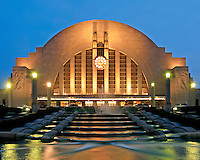 Union Terminal at night in Downtown Cincinnati Ohio