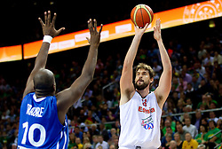 Ali Traore of France vs Marc Gasol of Spain during final basketball game between National basketball teams of Spain and France at FIBA Europe Eurobasket Lithuania 2011, on September 18, 2011, in Arena Zalgirio, Kaunas, Lithuania. (Photo by Vid Ponikvar / Sportida)