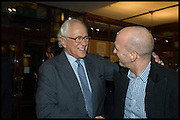 SIR EVELYN DE ROTHSCHILD; SIMON SEBAG-MONTEFIORE, Book party for 'The Liar's Ball' by Vicky Ward hosted by  Sir Evelyn  de Rothschild at Henry Sotheran's, 2 Sackville Street London. 25 November 2014