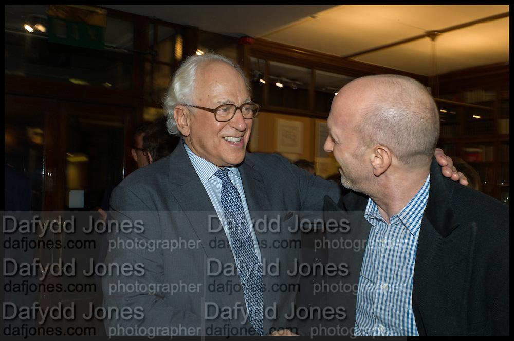 SIR EVELYN DE ROTHSCHILD; SIMON SEBAG-MONTEFIORE, Book party for 'The Liar's Ball' by Vicky Ward hosted by  Sir Evelyn  de Rothschild at Henry Sotheran's, 2 Sackville Street London. 25 November 2014