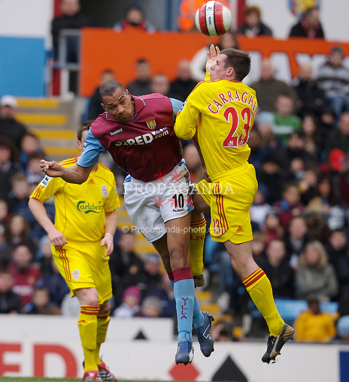 Birmingham, England - Sunday, March 3, 2007: Liverpool's Jamie Carragher and Aston Villa's John Carew during the Premiership match at Villa Park. (Pic by David Rawcliffe/Propaganda)