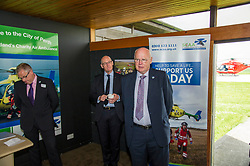 Pictured:  SCCA Chief Executive David Craig, John Swinney and SCCA Vice-Chair Mike Beale<br /> Deputy First Minister and local MSP  John Swinney visited Perth Airport today to visit Scotland's Charity Air Ambulance. The Perthshire North MSP will meet volunteers and present certificates to mark the start of National Volunteers' Week.<br /> <br /> <br /> Ger Harley   EEm 1 June 2018