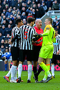 Jordan Pickford (#1) of Everton protests following a foul on Jose Salomon Rondon (#9) of Newcastle United that leads to a penalty during the Premier League match between Newcastle United and Everton at St. James's Park, Newcastle, England on 9 March 2019.