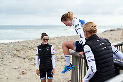 Lotta Lepistö (FIN) climbs onto the beach at Amgen Tour of California Women's Race empowered with SRAM 2019 - Team Presentation in Ventura, United States on May 15, 2019. Photo by Sean Robinson/velofocus.com