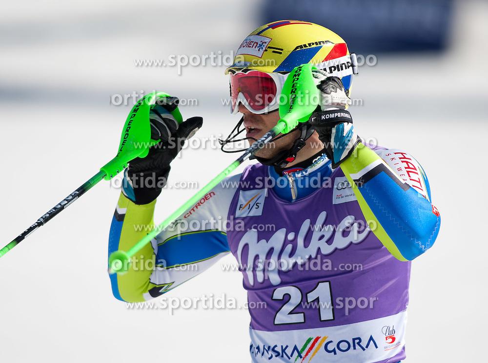 11.03.2012, Podkoren 3, Kranjska Gora, SLO, FIS Weltcup Ski Alpin, Herren, Salom, 2. Durchgang, im Bild Mitja Valencic (SLO, Platz 8) // 8th place Mitja Valencic of Slovenia during mens Slalom 2nd run of FIS Ski Alpine World Cup at 'Podkoren 3' course in Kranjska Gora, Slovenia on 2012/03/11. EXPA Pictures © 2012, PhotoCredit: EXPA/ Johann Groder