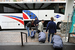 David Rodman, Ales Kranjc and Anze Terlikar at Slovenian National team packing and going from Citadel Hotel to the Halifax airport, when they finished with games at IIHF WC 2008 in Halifax, on May 11, 2008, Canada. (Photo by Vid Ponikvar / Sportal Images)
