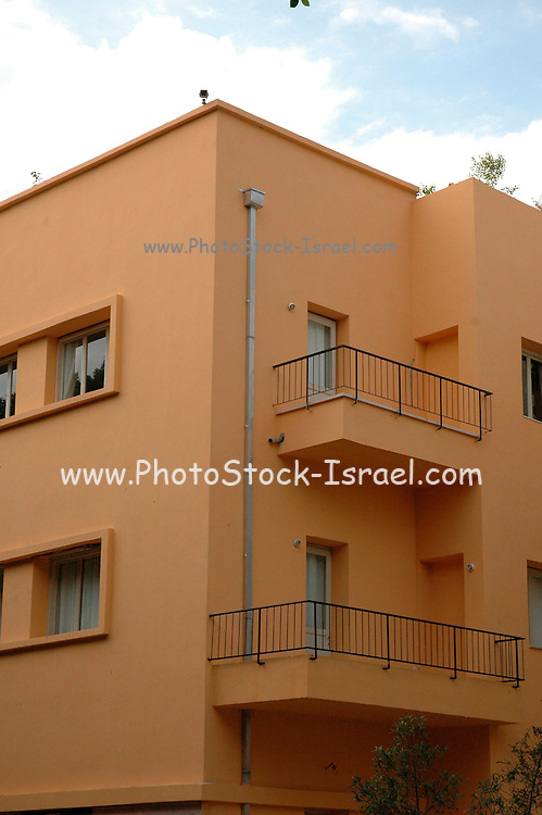 Old Bauhaus style building in Rothschild Boulevard, Tel Aviv, Israel. UNESCO has declared Tel Aviv an international heritage due to the abundance of the Bauhaus architectural style