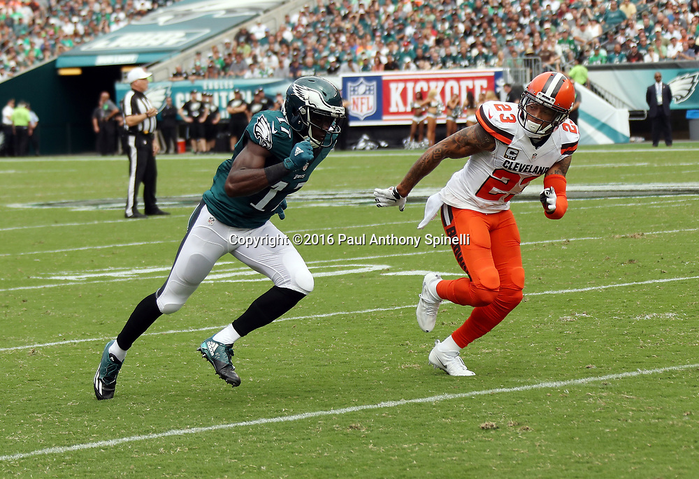 Philadelphia Eagles wide receiver Nelson Agholor (17) is covered by Cleveland Browns cornerback Joe Haden (23) as he goes out for a pass during the 2016 NFL week 1 regular season football game against the Cleveland Browns on Sunday, Sept. 11, 2016 in Philadelphia. The Eagles won the game 29-10. (©Paul Anthony Spinelli)