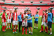 Brackley Town celebrate winning the FA Trophy (1-1, 5-4 penalties) of the FA Trophy match between Brackley Town and Bromley at Wembley Stadium, London, England on 20 May 2018. Picture by Stephen Wright.