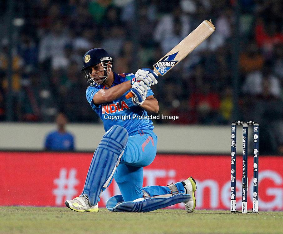 MS Dhoni, ICC T20 cricket World Cup Final - Sri Lanka v India, Sher-e-Bangla National Cricket Stadium, Mirpur, Bangladesh, 6 April 2014. Photo: www.photosport.co.nz