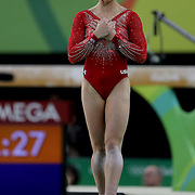Gymnastics - Olympics: Day 6  Alexandra Raisman #395 of the United States reacts after her Floor Exercise during her  silver medal performance in the Artistic Gymnastics Women's Individual All-Around Final at the Rio Olympic Arena on August 11, 2016 in Rio de Janeiro, Brazil. (Photo by Tim Clayton/Corbis via Getty Images)
