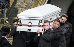 "© Licensed to London News Pictures. 14/02/2020. Sevenoaks, UK. One of two coffins leaves St John the Baptist church in Sevenoaks, Kent following the funeral service of traveller brothers Billy and Joe Smith. The twin brothers, who were made famous by the television programme ""My Big Fat Gypsy Wedding"", were found hanged in woodland three days after Christmas. Photo credit: Ben Cawthra/LNP"