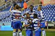 Reading celebrate their first goal during the Sky Bet Championship match between Reading and Ipswich Town at the Madejski Stadium, Reading, England on 11 September 2015. Photo by Mark Davies.