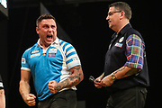 Gerwyn Price celebrates winning a leg during the BWIN Grand Slam of Darts at Aldersley Leisure Village, Wolverhampton, United Kingdom on 18 November 2018.