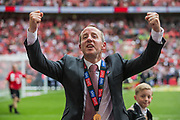 Lee Bowyer, Manager of Charlton Athletic FC celebrating Charlton Athletic FC win & promotion to the Championship League during the EFL Sky Bet League 1 play off final match between Charlton Athletic and Sunderland at Wembley Stadium, London, England on 26 May 2019.