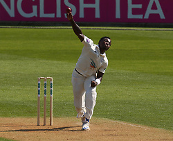 April 20, 2018 - London, Greater London, United Kingdom - Fidel Edwards of Hampshire ccc .during Specsavers County Championship - Division One, day one match between Surrey CCC and Hampshire CCC at Kia Oval, London, England on 20 April 2018. (Credit Image: © Kieran Galvin/NurPhoto via ZUMA Press)