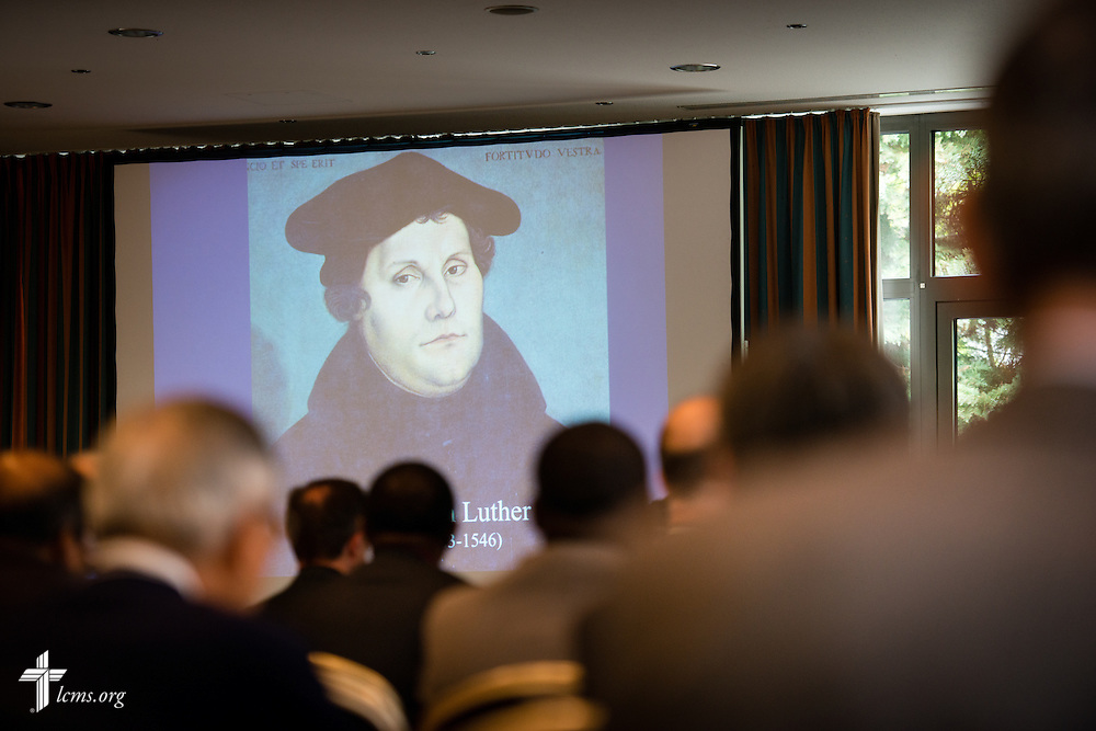 A large Martin Luther image is projected onto screen during a presentation by the Rev. Dr. Lawrence R. Rast, Jr., president of Concordia Theological Seminary in Fort Wayne, Ind., on Tuesday, May 5, 2015, at the International Conference on Confessional Leadership in the 21st Century in Wittenberg, Germany. LCMS Communications/Erik M. Lunsford