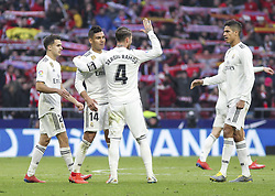 February 9, 2019 - Madrid, Madrid, Spain - Players of Real Madrid in action during La Liga Spanish championship, , football match between Atletico de Madrid and Real Madrid, February 09th, in Wanda Metropolitano Stadium in Madrid, Spain. (Credit Image: © AFP7 via ZUMA Wire)