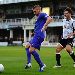 TELFORD COPYRIGHT MIKE SHERIDAN Darryl Knights of Telford holds off Jacob Jagger-Cane of Hereford during the National League North fixture between Hereford FC and AFC Telford United at Edgar Street, Hereford on Tuesday, August 13, 2019<br /> <br /> Picture credit: Mike Sheridan<br /> <br /> MS201920-009