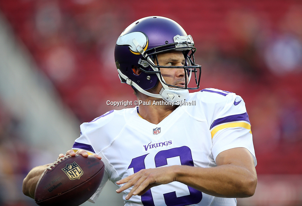 Minnesota Vikings quarterback Shaun Hill (13) throws a pregame pass while warming up before the 2015 NFL week 1 regular season football game against the San Francisco 49ers on Monday, Sept. 14, 2015 in Santa Clara, Calif. The 49ers won the game 20-3. (©Paul Anthony Spinelli)