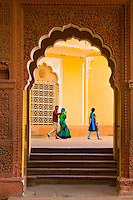 Looking through an ornate arch at the Mehrangarh Fort, Jodhpur, Rajasthan, India