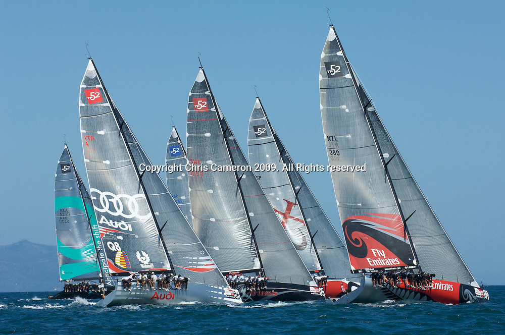Emirates Team New Zealand NZL380 lead the fleet up leg one of race two, day one, Sardinia Trophy, Audi MedCup 21/7/2009