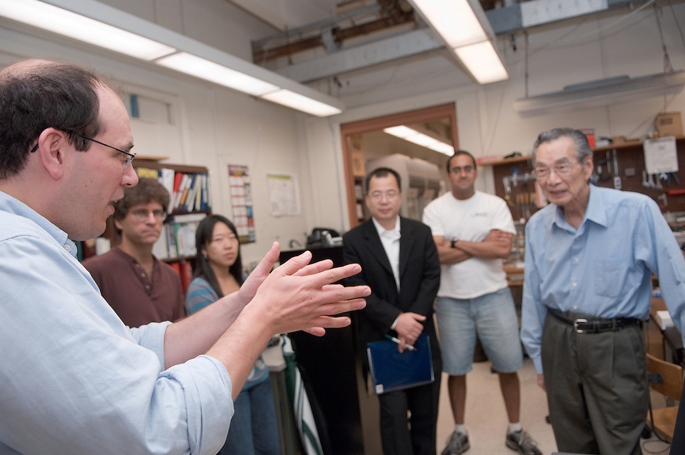 """Yuan-Cheng """"Bert"""" Fung, recipient of the 2007 Fritz J. and Dolores H. Russ Prize having breakfast with students in Stocker...David Tees/Doug Goetz lab, """"Leukocyte Adhesion in Capillary Sized Microvessels""""..Left to right:..David Tees,Doug Goetz, Young Eun Choi, Wei Huang(UCSD Associate project scientist), Prithu Sundd, and Yuan-Cheng """"Bert"""" Fung.....Russ Prize winner to speak on biomechanics..Yuan-Cheng """"Bert"""" Fung, recipient of the 2007 Fritz J. and Dolores H. Russ Prize, will give a public lecture titled, ?Biomechanics: The Road to Understanding Living Systems,? from 2:10 to 3 p.m. Thursday, Sept. 27, in Ohio University's Baker University Center Theatre.  ..Widely considered the father of modern biomechanics, Fung's diverse research endeavors have formed the basis for the entire field of automotive safety design. They also contributed to the development of artificial skin, improved the effectiveness and longevity of prosthetic devices and enabled the military to develop safer non-lethal weapons and personal body armor. Fung is currently a professor emeritus of bioengineering at the University of California, San Diego, where he founded the bioengineering program...In addition to his public lecture, Fung will also tour Ohio University biomedical engineering labs and meet with Ohio University faculty, leaders, and the Russ College Engineering Ambassadors. ..The late Ohio University graduate Fritz Russ and his wife, Dolores, created the Russ Prize in 1999. The $500,000 award, one of the top three engineering prizes in the world, recognizes engineering achievement that significantly improves the human condition. All Russ Prize winners are invited to give a lecture at Ohio University...Fung's lecture is free and open to the public. A reception will follow outside the theater."""