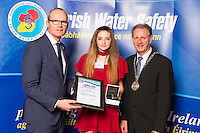 Dublin - Ireland, Tuesday 8th November 2016:<br /> Simon Coveney TD, Minister for Housing, Planning &amp; Local Government with 'Seiko Just In Time Award' recipient Ruth Conlon Oates (Sligo) and Martin O'Sullivan, Chairman of Irish Water Safety at the annual Irish Water Safety Awards held at Dublin Castle.  Photograph: David Branigan/Oceansport
