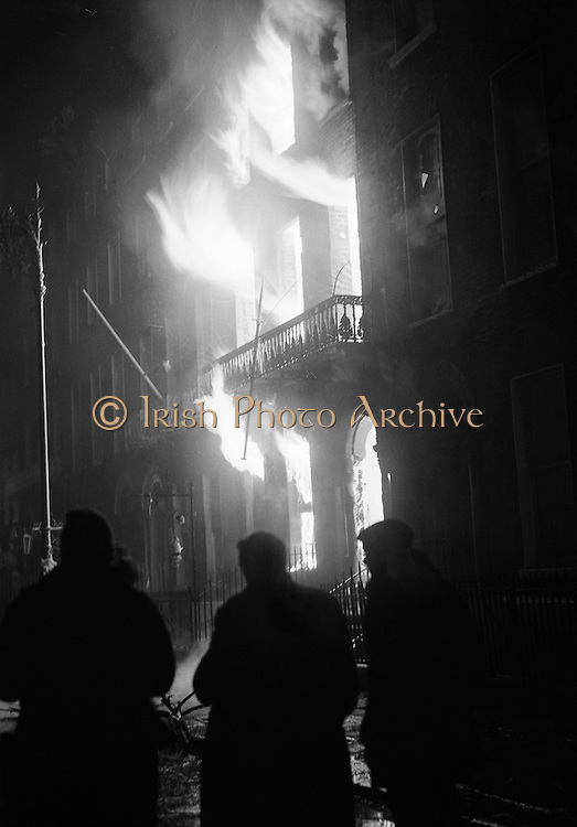 Flames engulf the British Embassy building on Merrion Square as it is burnt to the ground in protest at the Bloody Sunday killings in Derry.<br />