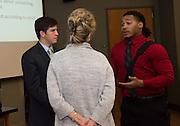 "Keynote Speaker, John Paul ""Sonny"" Vaccaro speaks at the Darren Butler Ohio University Sports Business Forum on October 18th, 2013 at Margaret M. Walter Hall. Photos by Royle Mast."