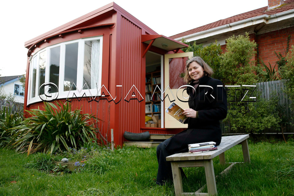 Jenny Bornholdt in front of her study at home in Wellington, New Zealand, where she writes her books