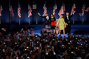 Presidential Candidate Barack Obama holds his acceptance speech on Hutchinson Field in Grant Park in Chicago, after being elected the next President of the United States