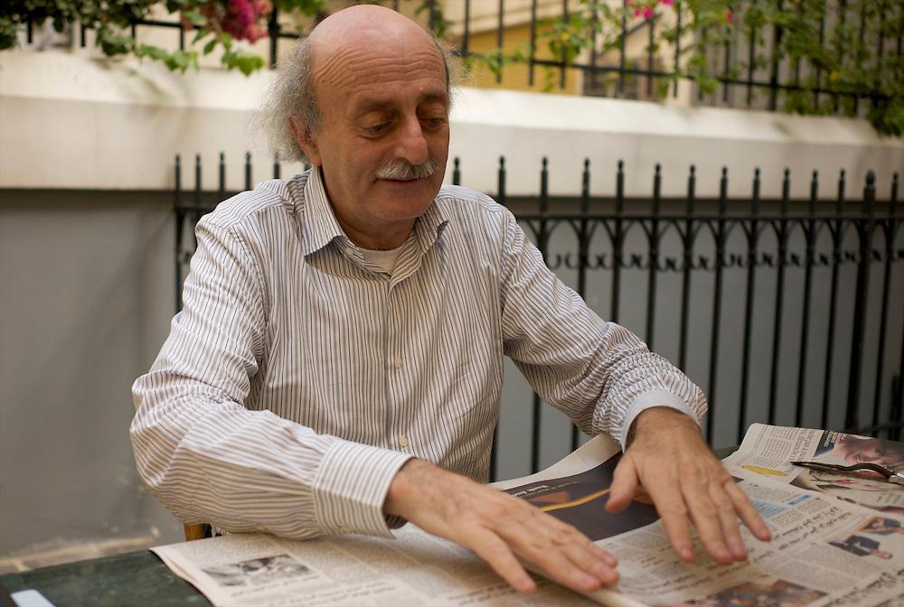 Walid Jumblatt, leader of the Progressist Socialis Party (PSPL), at his residence in Beirut. <br /> <br /> Walid Joumblatt, pr&eacute;sident du Parti Socialiste Progressiste Libanais (PSPL) dans sa r&eacute;sidence beyrouthine.