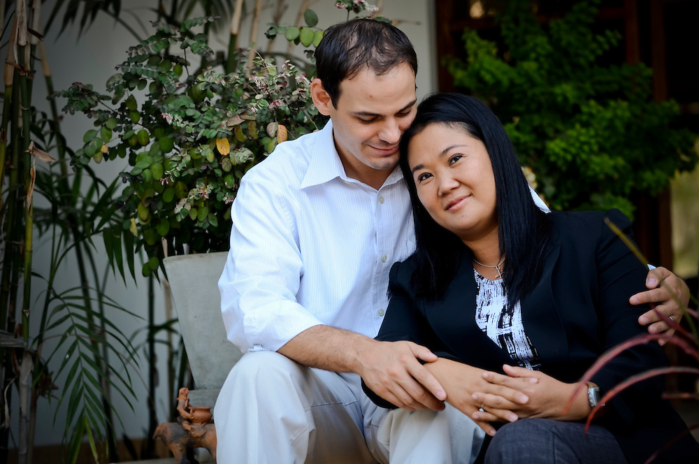 Keiko Fujimori, 35, poses for a portrait with her American husband, Mark Vito Villanella, at their home in Lima, Peru.