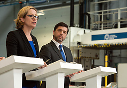 © Licensed to London News Pictures.18/04/2016. Bristol, UK.  National Composites Centre, Emersons Green. Picture of: Secretary of State for Energy and Climate Change AMBER RUDD, and Secretary of State for Work and Pensions STEPHEN CRABB. Treasury Report event re the EU referendum and the cost to UK families of the UK leaving the EU, with Chancellor George Osborne, Secretary of State for Energy and Climate Change Amber Rudd, Secretary of State for Environment, Food and Rural Affairs Liz Truss, and Secretary of State for Work and Pensions Stephen Crabb. Photo credit : Simon Chapman/LNP