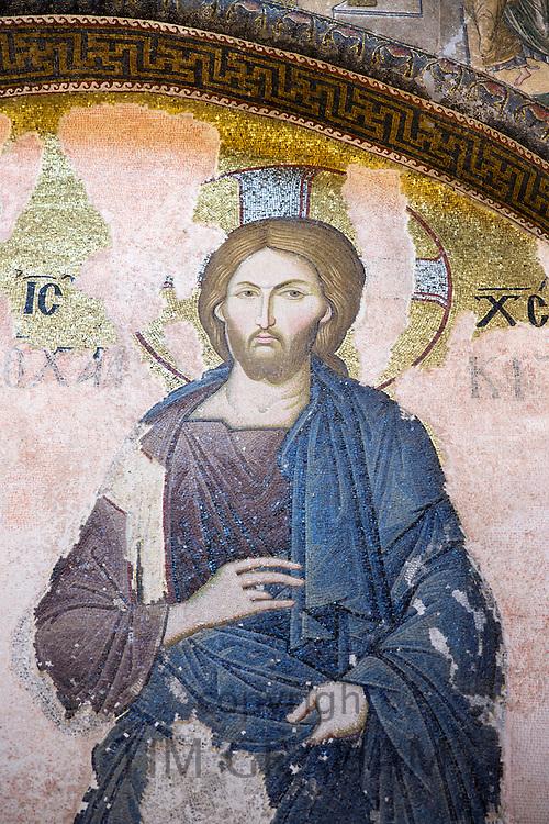 Church of St Saviour in Chora, Kariye Museum St Savior Deesis mosaic of Jesus Christ, The Chalkite Christ in Istanbul, Turkey