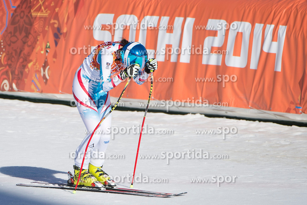 12.02.2014, Rosa Khutor Alpine Center, Krasnaya Polyana, RUS, Sochi, 2014, Abfahrt Damen, im Bild Cornelia Huetter (AUT) // during the Womens downhill of the Olympic Winter Games Sochi 2014 at the Rosa Khutor Alpine Center in Krasnaya Polyana, Russia on 2014/02/12. EXPA Pictures © 2014, PhotoCredit: EXPA/ Freshfocus/ Michael Zanghellini<br /> <br /> *****ATTENTION - for AUT, SLO, CRO, SRB, BIH, MAZ only*****