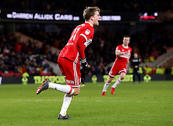 Patrick Bamford of Middlesbrough celebrates scoring a goal to make it 2-0 - Mandatory by-line: Robbie Stephenson/JMP - 02/03/2018 - FOOTBALL - Riverside Stadium - Middlesbrough, England - Middlesbrough v Leeds United - Sky Bet Championship
