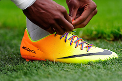 Hartlepool United's Nialle Rodney wears the rainbow coloured laces showing support for Stonewall's campaign, Right Behind Gay Footballers. - Photo mandatory by-line: Dougie Allward/JMP - Tel: Mobile: 07966 386802 21/09/2013 - SPORT - FOOTBALL - Memorial Stadium - Bristol - Bristol Rovers V Hartlepool United - Sky Bet League Two