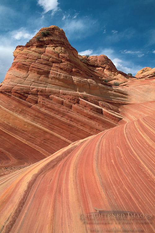 Blue sky and clouds over sandstone formations at the Wave, Paria Vermilion Cliffs Wilderness, Arizona Utah border
