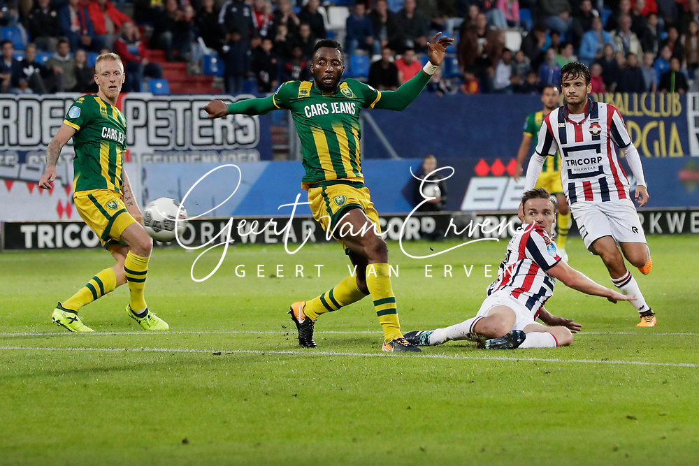 (L-R) Lex Immers of ADO Den Haag ,  Wilfried Kanon of ADO Den Haag, Ben Rienstra of Willem II, Pedro Chirivella of Willem II