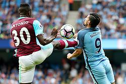 Michail Antonio of West Ham United challenges Nolito of Manchester City  - Mandatory by-line: Matt McNulty/JMP - 28/08/2016 - FOOTBALL - Etihad Stadium - Manchester, England - Manchester City v West Ham United - Premier League