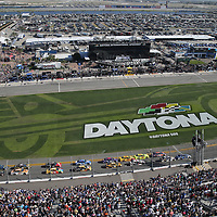 The official start of the 60th Annual NASCAR Daytona 500 auto race at Daytona International Speedway on Sunday, February 18, 2018 in Daytona Beach, Florida.  (Alex Menendez via AP)