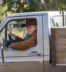 All American cowboy in a truck
