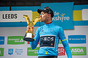 Chris Lawless of Team Ineos kisses the Tour De Yorkshire trophy on stage during stage four of the Tour de Yorkshire from Halifax to Leeds, , United Kingdom on 4 May 2019.