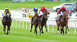 Mur Hiba and Kevin Manning (centre) win the K Club European Breeders Fund Maiden at Curragh Racecourse, Co. Kildare, Ireland.